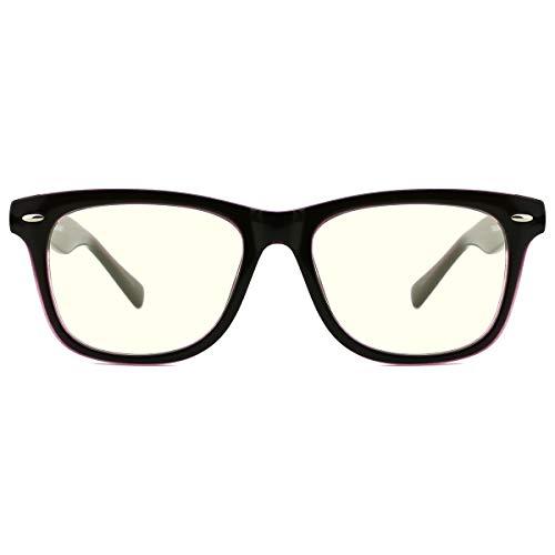 TIJN Blaulichtfilter Brille für Kinder TR90 Rahmen Brille Ohne Stärke Schutz für Augen durch bluelightprotect