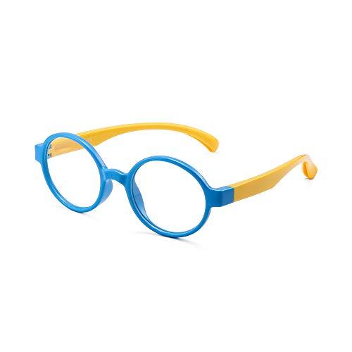 Kinder Blaues Licht blockiert Brillen Kids Runden Anti-Augen-Belastung Gläser für Computer, Telefone, TV, Video Gaming Mädchen Jungen Blauer Rahmen Gelber Tempel