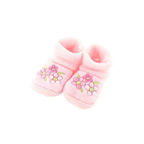 Chaussons pour bébé 0 à 3 Mois rose - Motif Trio Fleurs