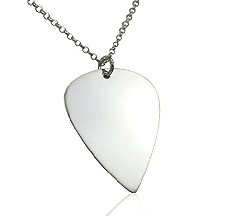Solid Sterling Silver Guitar Pick Necklace Electric or Acoustic - 18 inch