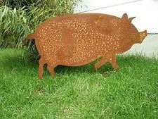 Garteninspiration Schwein Gartentier Gartenstecker