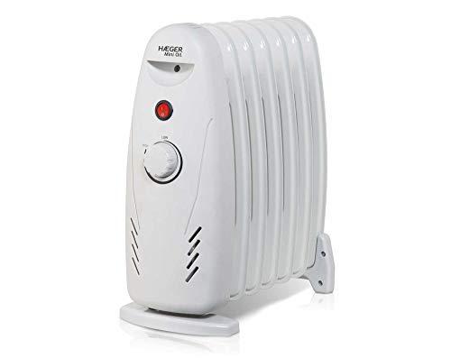 HAEGER MINI OIL - Radiador eléctrico de aceite 7 Finos de 600 W, con 7 elementos 125 x 320mm, botón...