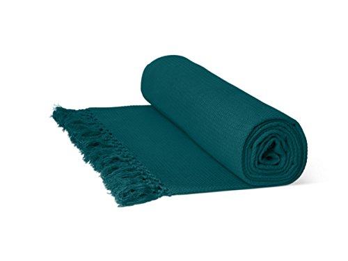 Just Contempo Überwurf/Tagesdecke, aus 100% Baumwolle, mit Wabenstruktur, extragroß, 100 % Baumwolle, Blaugrün, Double 90