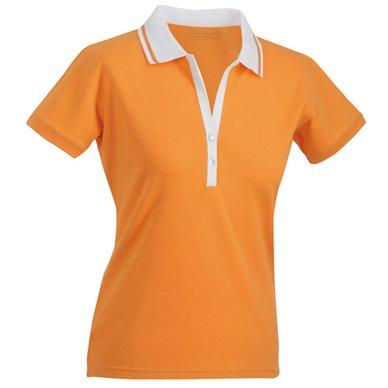 Ladies' Elastic Polo Shortsleeve/James & Nicholson (JN 158) S M L XL XXL orange/weiß