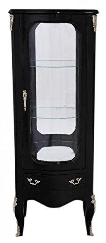 Casa Padrino Barock Vitrine Schwarz 130 cm - Vitrinenschrank - Wohnzimmerschrank