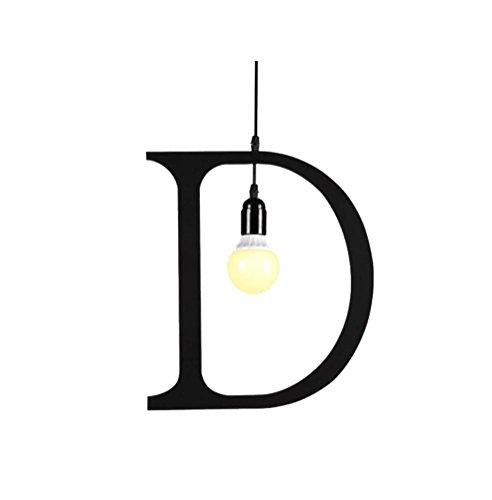 Vier Light Mini Leuchter (XXFFH® Pendelleuchten Briefe Kronleuchter personalisierte Bügeleisen Bekleidungsgeschäft Lichter Restaurants Cafes Rechtschreibung Beleuchtung Warm Light 5W D)