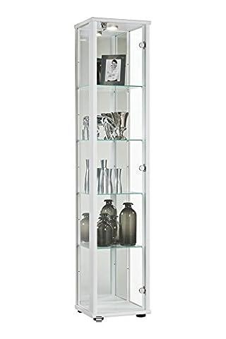 Glasvitrine Sammlervitrine Vitrine LED beleuchtet Schloß Spiegel Weiss Schwarz Silber