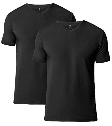 Große Hohe Seide T-shirts (LAPASA 2er Pack Herren T-Shirts - SUPER WEICHES Micromodal - Business Kurzarm Unterhemd mit V-Ausschnitt Für Männer M08)