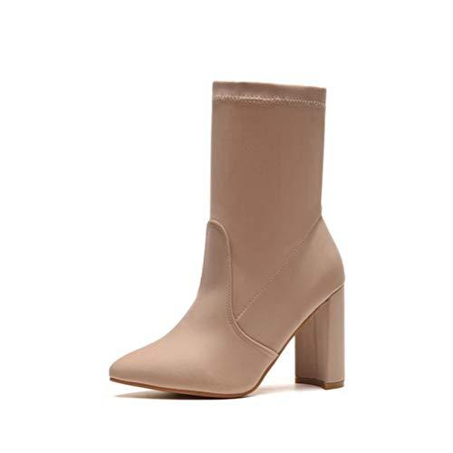 Damen Weiche Komfort Socken Stiefeletten Slip On Spitzschuh High Heel Stretch Kurze ()