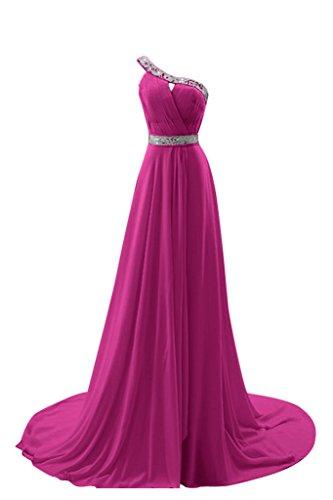 Gorgeous Bride Elegant Ein- Schulter A-Linie Chiffon Lang Schleppe Festkleid Abendkleid Ballkleid Z-Fuchsia