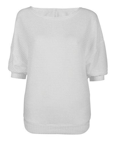 Bigood Pull Manche Chauve-souris Sweat-shirt Automne Hiver Sweat Col Rond Pull-over Tricoté Mode Blanc