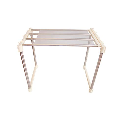 AARTIN Space Saving Microwave Steel Kitchen Rack with Expandable Width (White)