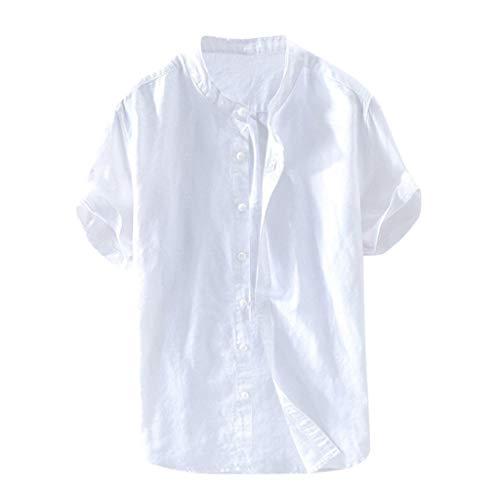 Amphia Herren Leinenhemd Kurzarm - Männer Slim Fit Hemd aus festem Leinen Baumwolle Kurzarm Paisley Vintage Mantel