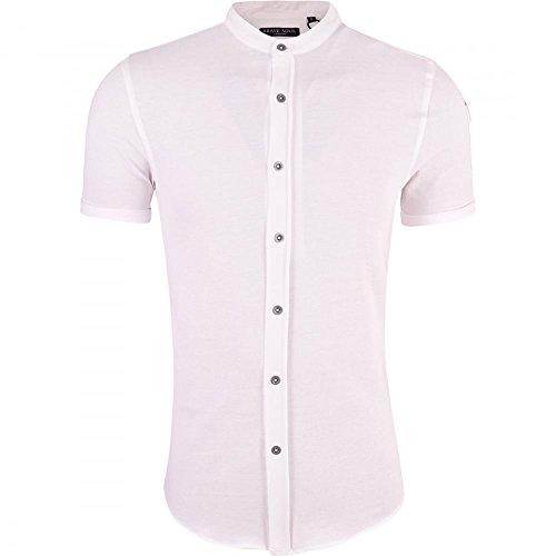 brave-soul-mens-grandad-cotton-shirt-collarless-short-sleeve-smart-casual-shirts-small-white