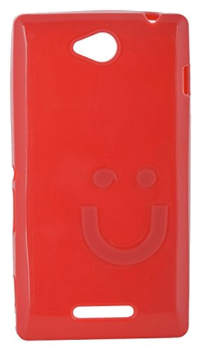 iCandy™ Imported Quality Soft TPU Smiley Back Cover for Sony Xperia C C2305 S39H - RED