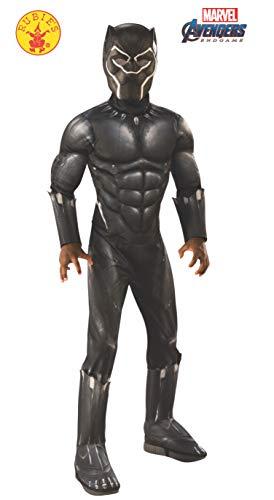 Black Kinder Panther Kostüm - Rubie's Offizielles Avengers Black Panther, Deluxe Kinderkostüm, Größe L, Alter 8-10, Höhe 147 cm