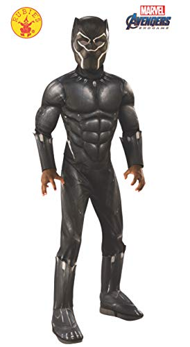 Fancy Cat Top Dress Kostüm - Rubie's Offizielles Avengers Black Panther, Deluxe Kinderkostüm, Größe L, Alter 8-10, Höhe 147 cm