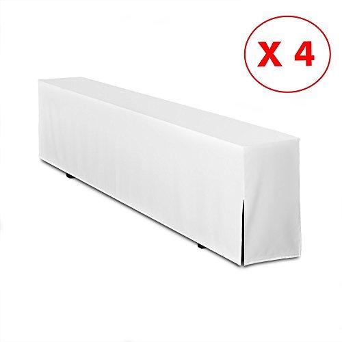 4er Pack Bierbankhussen Premium Qualität 220cm Hussenlänge - (Weiß)