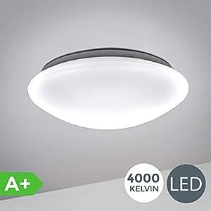 B.K.Licht I 12W LED Badlampe I 4.000K Neutralweiß I 1.200 Lumen I Ø29cm I IP44 Spritzwasserschutz I Badezimmerlampe gewölbt I LED Deckenlampe