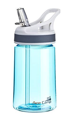 AceCamp TRITAN Botella de Agua | Botella de Agua a Prueba de Fugas sin BPA | Botella Deportiva Pajita I 350 ml I Azul I 15516