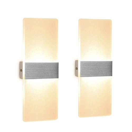 2 Stücke Wandleuchte LED Innen 12W Wandlampe Acryl Wandbeleuchtung Modern für Wohnzimmer Schlafzimmer Treppenhaus Flur | Warmweiß -