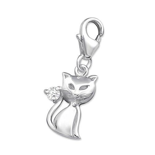 Laimons Damen-Charm Anhänger Katze mit Zirkonia Sterling Silber 925