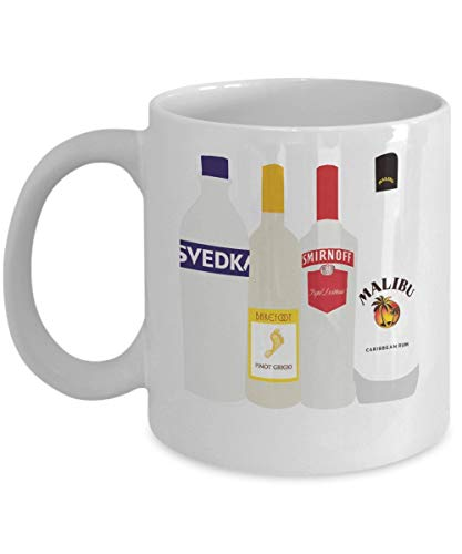Alcohol Bottle Coffee Mug Cup (White) 11oz Alcohol Bottle Vodka Lover Gifts Merchandise Accessories...