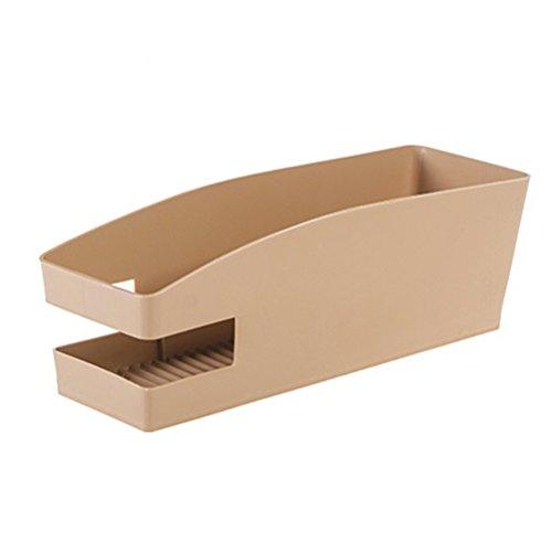 OUNONA Kunststoff Schuh Aufbewahrungsbox mit gezackten Platte für Schuhe/Controller/Shampoo (Khaki) (Platte-aufbewahrungsbox)
