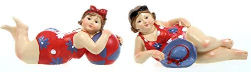 Schick-Design 2 Badenixen - rot - liegend 11 cm mit Ball oder Hut im Badeanzug Mädchen Rubensfrau mollige Dame Dicke Frau Badezimmer Figur Meer Strand Urlaub