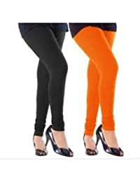 Gtb Ruby Style Cotton Legging Combo Pack Of 2 Orange And Black