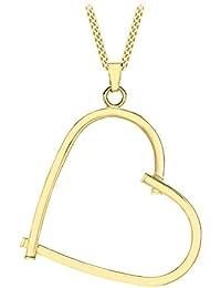 Carissima Gold Damen-Kette mit Anhänger 9ct Square Tube Open Heart Pendant on Curb Chain 375 Gelbgold 46 cm - 1.43.4794