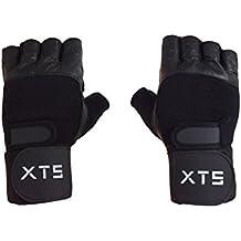 Xtreme fuerza XTS piel levantamiento de pesas gimnasio guantes con muñeca apoyo entrenamiento culturismo Fitness entrenamiento accesorios, color negro, tamaño mediano