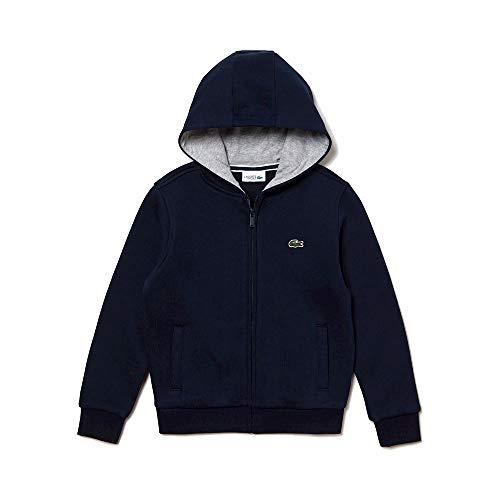 Lacoste Jungen Kapuzen Sweatshirt Jacke, Blau (Ocean/Argent Chiné W0r), 14 Jahre (Herstellergröße: 14A)