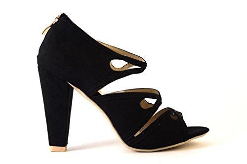 Sandales pour femme turquoise noir - 41 sandales femme sabots peeptoes pour femme Noir