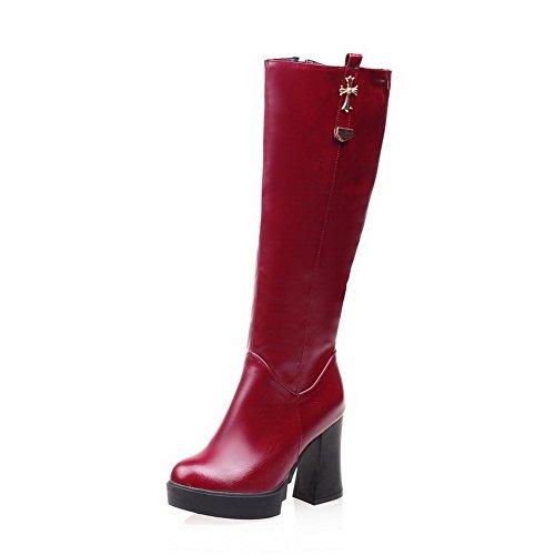 VogueZone009 Damen Niedriger Absatz Blend-Materialien Knie Hohe Stiefel, Grün, 39