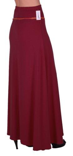 EyeCatch - Romina Aux Femmes Gitan Longue Jersey Dames Belted Maxi Robe Évasée Jupe Vin