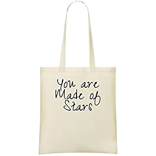 You Are Made Of Stars Custom Printed Tote Bag - 100% Soft Cotton - Eco-Friendly & Stylish Handbag For Everyday Use - Custom Shoulder Bags