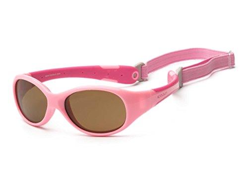 Koolsun Baby Sonnenbrille Flex Mädchen 0-3 Jahre | Pink & Hot | 100% UV Schutz | Mit abnehmbarem Kopfband | Optical Clas 1, Cat. 3 |...