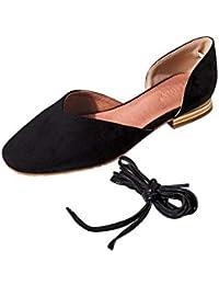 KOKQSX-Fondo Plano Baotou Sandalias Tacones Planos Retro Elegante Salvaje  Vendas único Zapato de Damas f8284a674cc4