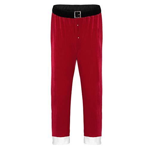 ACSUSS Herren Weihnachtsmännchen-Kostüm, roter Samt, Pyjama, Lounge, Lange Hose - Rot - Large -
