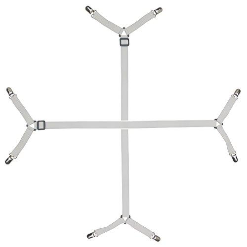 Preisvergleich Produktbild SERODA 2 Stück Dreieck Lange Verstellbare Crisscross Betttuchspanner mit Metallklammern,Für alle Größen Bett Matratze,Bettlaken (Weiß)