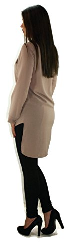 #4048 Damen Designer Bluse Longbluse Oberteil Grau Rot Braun Blau Schwarz Onesize 34 36 38 Braun