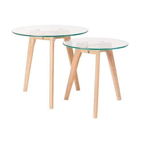 MATHI DESIGN Set de 2 Tables Bois et Verre