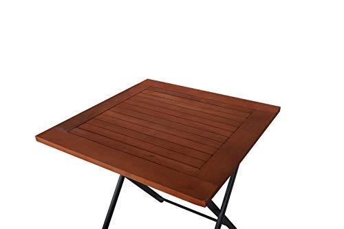 Ambientehome Aluminium Klapptisch mit Tischplatte aus Akazie 70×70 cm Balkontisch Beistelltisch 50220, grau/braun