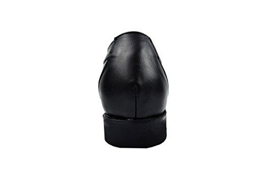 Zerimar Chaussures Rehaussantes Por Hommes Ajoutez +7 CM à Votre Taille Fait de Cuir de Haute Qualité Noir