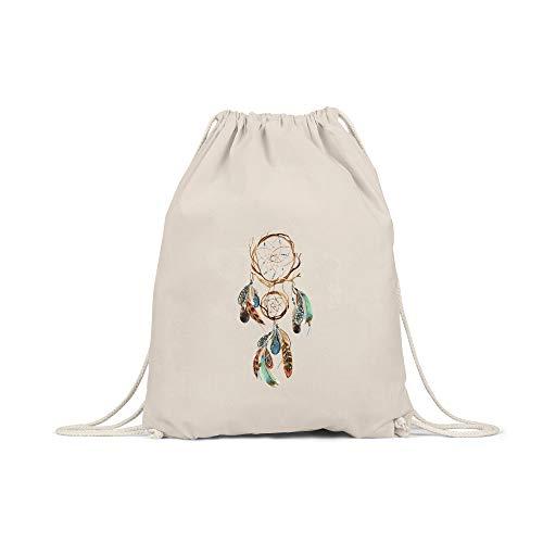 licaso Bolsa de Deporte Estampada en Colores Gym Bag con Robusto Cordel Bolsa impresión ecológica & sostenible Bolsa de Transporte 100% algodón, Color atrapasueños, tamaño Natur