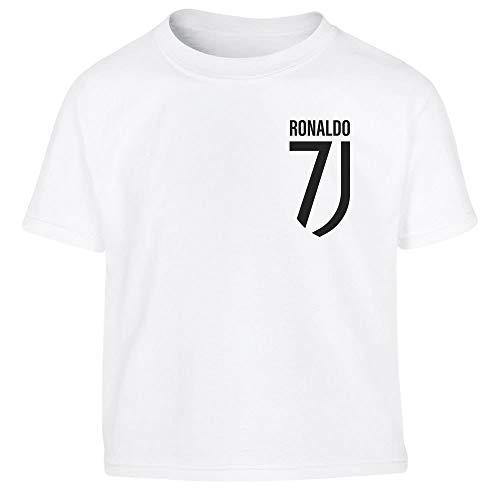 Maglietta bimbi fans ronaldo - cr7juve - t shirt juventini maglietta per bambini 8-10 anni (130/140cm) bianco