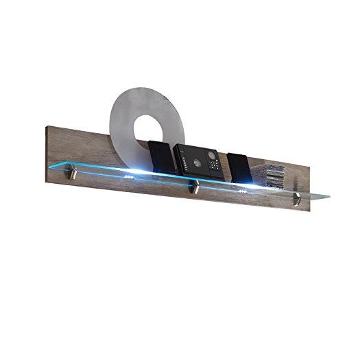 Wohnwand MITTA 4-tlg in Wildeiche Trffel inkl. LED Beleuchtung fr Wandboard, Highboard, Vitrine - 4