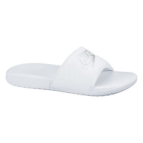 Nike Damen Benassi Just Do It Dusch-& Badeschuhe, Weiß (White/Metallic Silver), 38 EU
