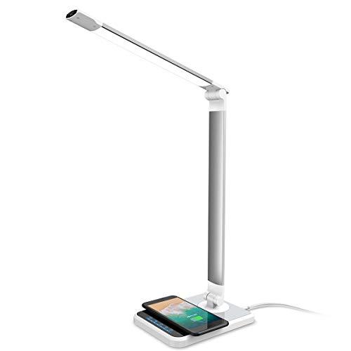 LED Schreibtischlampe mit kabelloser Ladestation LOFTer | Tischlampe 3 Farb- und 7 Helligkeitsstufen dimmbar USB-Ladeanschluss | Tischleuchte Augenschutz drehbar Auto-Off Timer